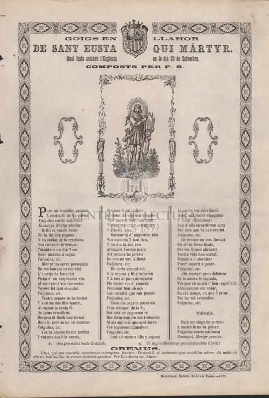 Goigs en llahor de Sant Eustaqui mártyr. Qual festa celebra l'Esglesia en lo dia 20 de setembre