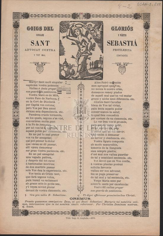 Goigs del gloriós cavaller y mártyr Sant Sebastiá advocat contra pestilencia y tot mal contagiós