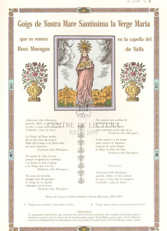 Goigs de Nostra Mare Santíssima la Verge Maria, que es venera en la capella del Bosc Moragas de Valls