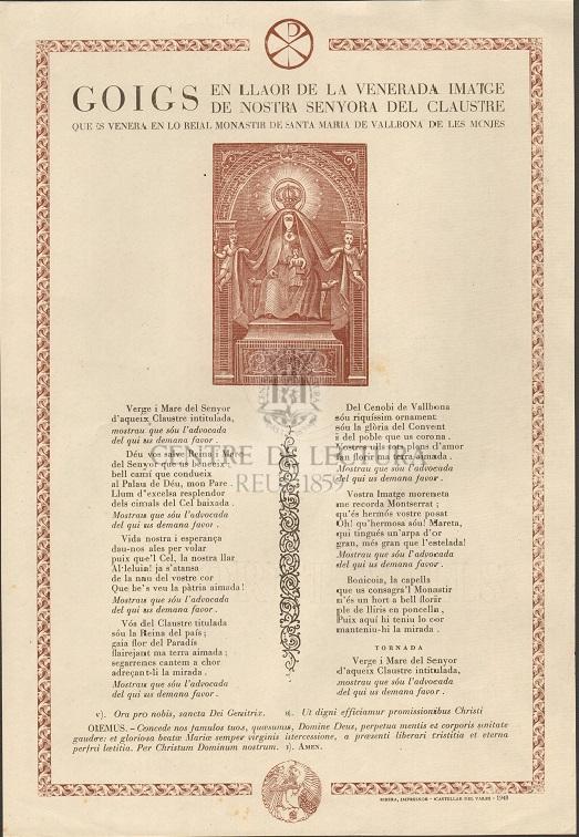 Goigs en llaor de la venerada imatge de Nostra Senyora del Claustre que es venerada en lo Reial Monastir de Santa Maria de Vallbona de les Monjes