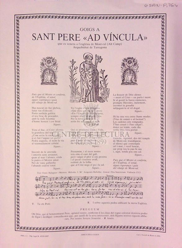 """Goigs a Sant Pere """"Ad víncula"""" que es venera a l'església de Mont-ral (Alt Camp) Arquebisbat de Tarragona"""