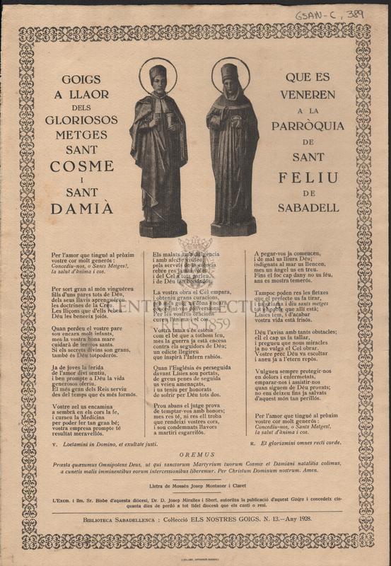 Goigs a llaor dels gloriosos metges Sant Cosme i Sant Damià que es veneren a la Parròquia de Sant Feliu de Sabadell
