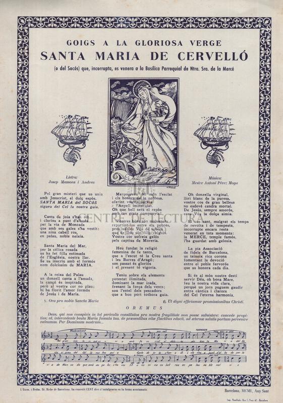 Goigs a la gloriosa verge santa Maria de Cervelló (o del Socós) que, incorrupta, es venera a la Basílica Parroquial de Ntra. Sra. de la Mercè