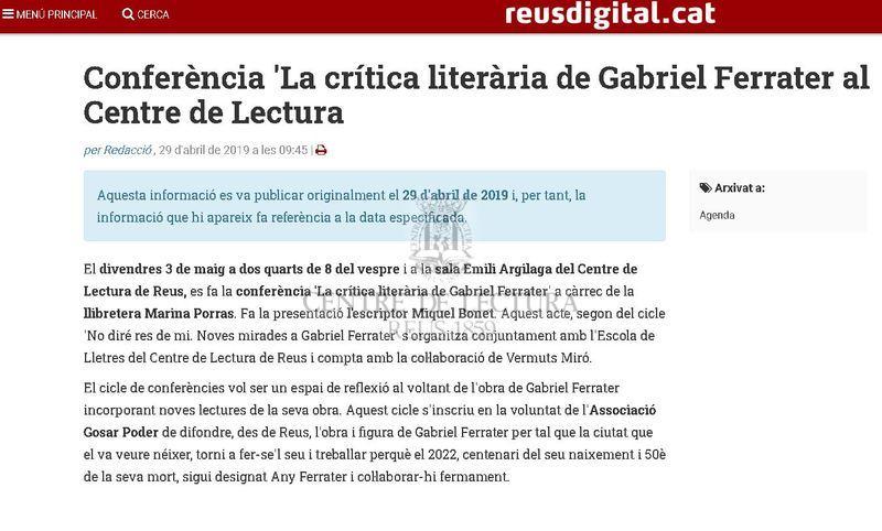 Conferència 'La crítica literària de Gabriel Ferrater al Centre de Lectura