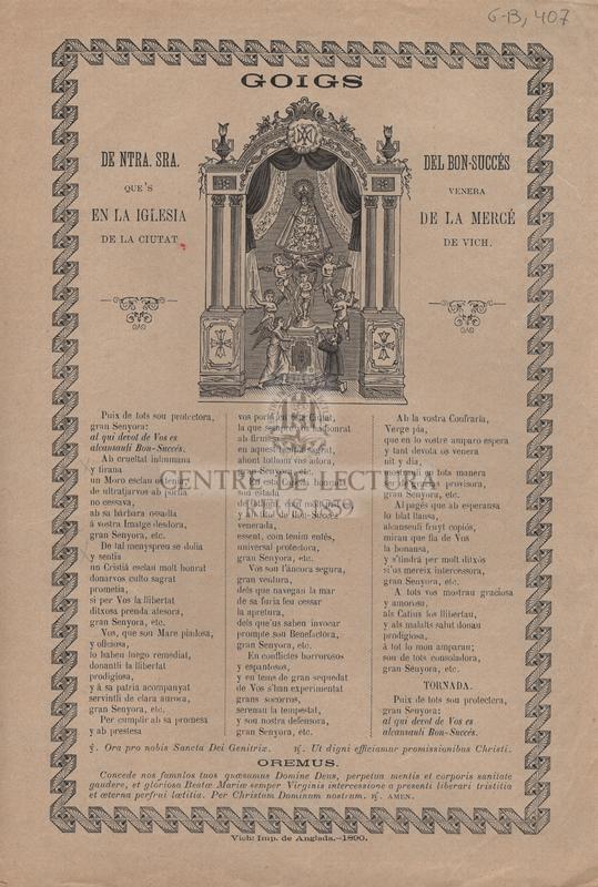 Goigs de Ntra. Sra. del Bon-Succés que's venera en la iglesia de la Mercé de la ciutat de Vich