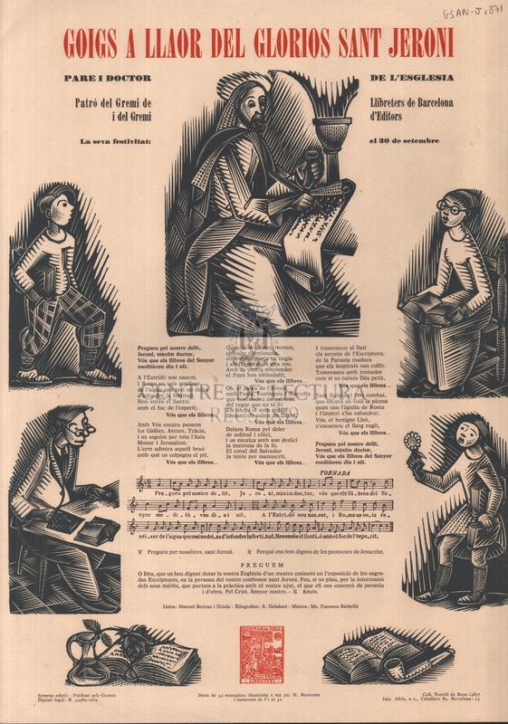 Goigs a llaor del gloriós sant Jeroni, pare i doctor de l'esglesia, Patró del Gremi de Llibreters de Barcelona i del Gremi d'Editors, la seva festivitat: el 30 de setembre