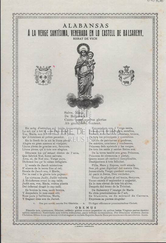 Alabansas á la Verge Santíssima, venerada en lo Castell de Balsareny, Bisbat de Vich