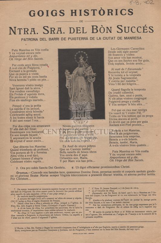 Goigs històrics de Ntra. Sra. del Bòn Succés patrona del barri de Puigterrá de la ciutat de Manresa