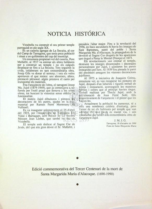 Goigs a llaor de Santa Margarida Maria d'Alacoque venerada a Vistabella arquebisbat de Tarragona