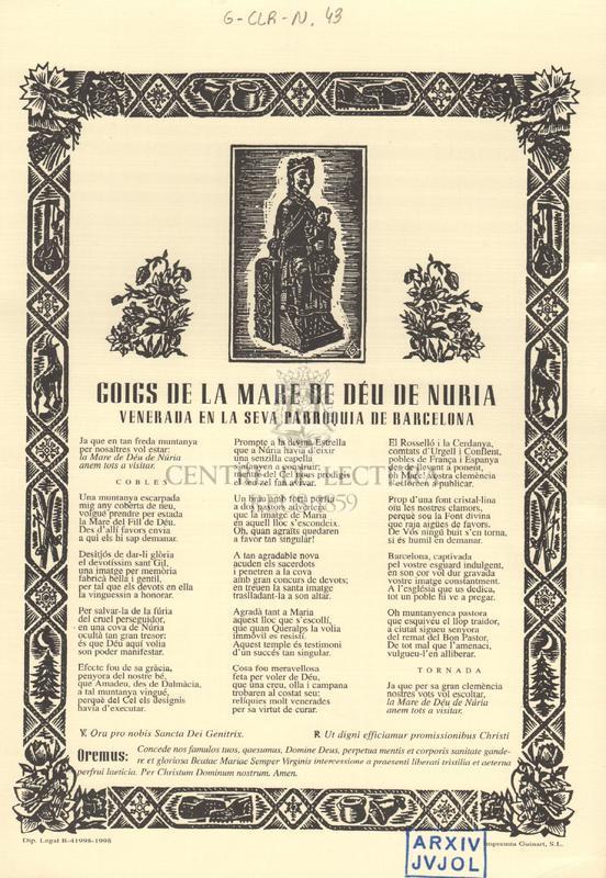 Goigs de la Mare de Déu de Nuria [sic] venerada en la seva Parròquia de Barcelona