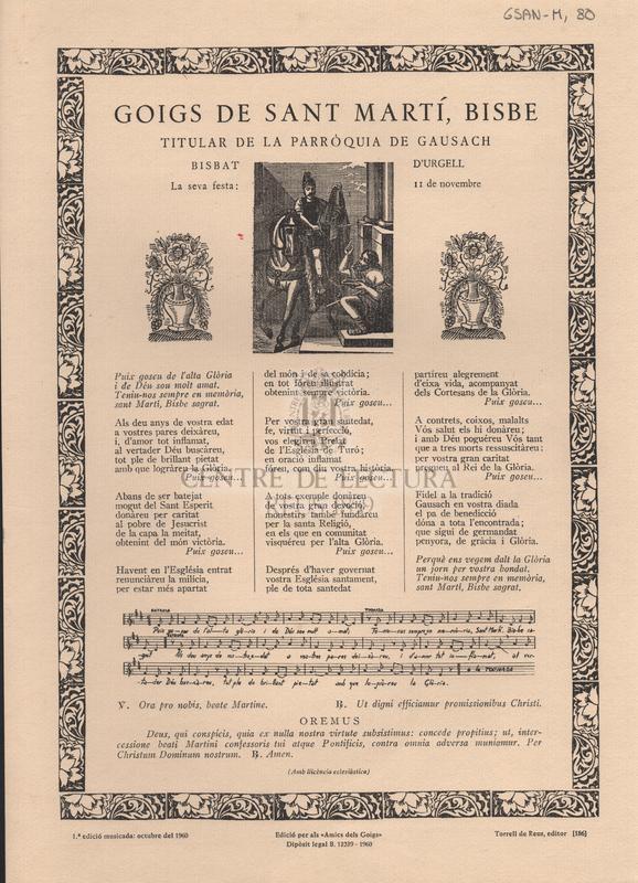 Goigs de Sant Martí, Bisbe titular de la Parròquia de Gausach. Bisbat d'Urgell. La seva festa: 11 de novembre