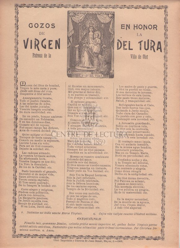 Gozos en honor de la Virgen del Tura Patrona de la Villa de Olot