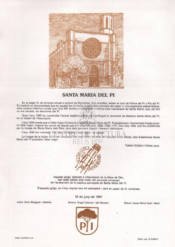 Goigs a la Assumpció de la Mare de Déu titular de la basílica parroquial de Santa Maria del Pi de Barcelona