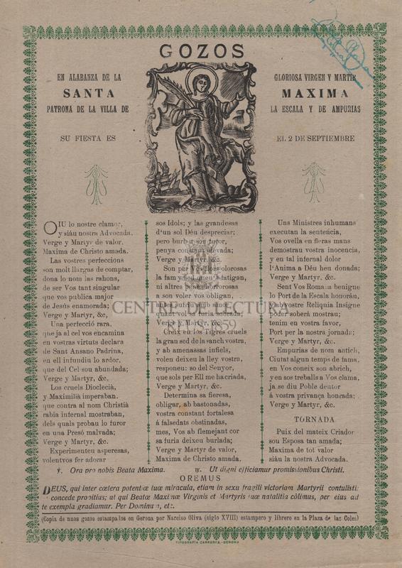 Gozos en alabanza de la gloriosa virgen y martir santa Maxima, patrona de la villa de La Escala y de Ampurias, su fiesta es el 2 de septiembre