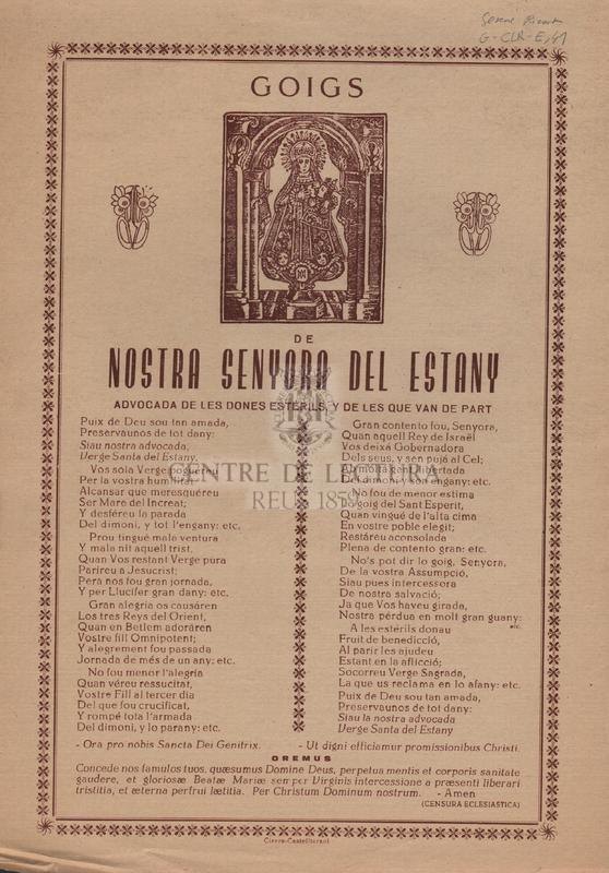 Goigs de Nostra Senyora del Estany advocada de les dones estérils, y de les que van de part.