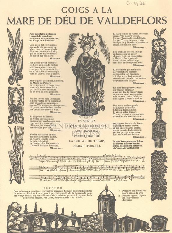 Goigs a la Mare de Déu de Valldeflors