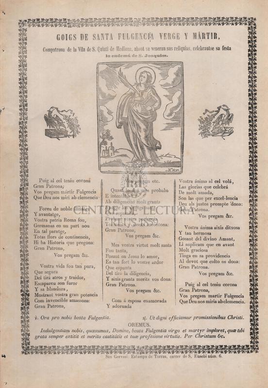 Goigs de santa Fulgencia verge y mártir, Compatrona de la Vila de S. Quinti de Mediona, ahont se veneran sas reliquias, celebrantse sa festa lo endemá de S. Joaquim