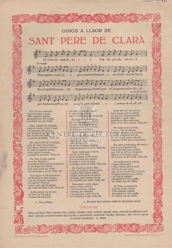 Goigs a llaor de Sant Pere de Clarà.
