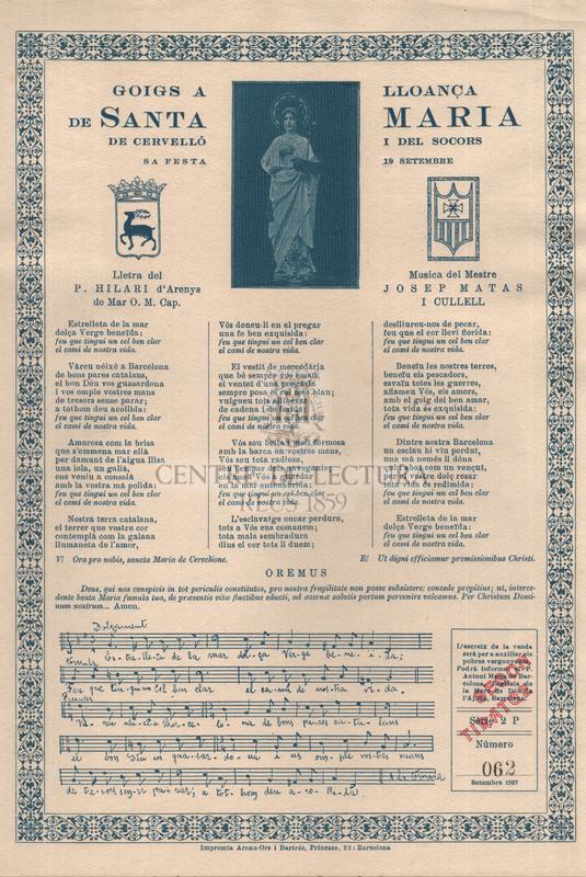Goigs a lloança de santa Maria de Cervelló i del Socors, sa festa 19 setembre