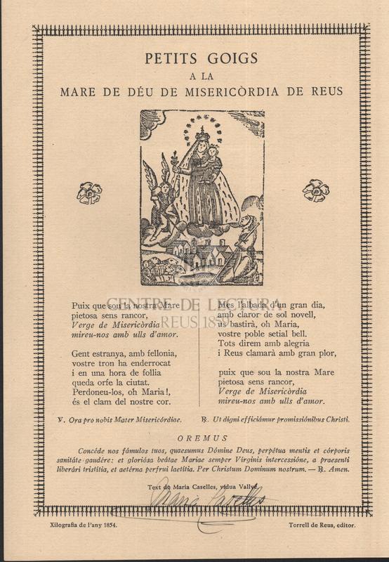 Petits goigs a la Mare de Déu de Misericòrdia de Reus