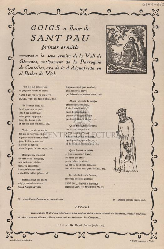 Goigs a llaor de Sant Pau primer ermità venerat a la seva ermita de la Vall de Gèmenes, ara de la d'Aiguafreda, en el Bisbat de Vich.