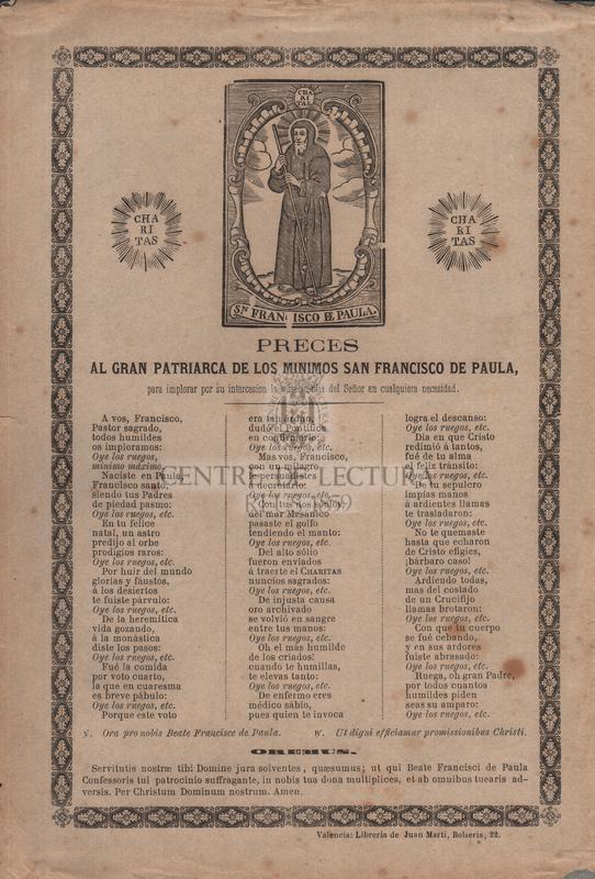 Preces al gran patriarca de los minimos san Francisco de Paula, para implorar por su intercesion la misericordia del Señor en cualquiera necesidad