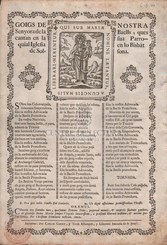 Goigs de Nostra Senyora de la Baells, ques cantan  en la sua Parroquial Iglesia en lo Bisbát de Solsona