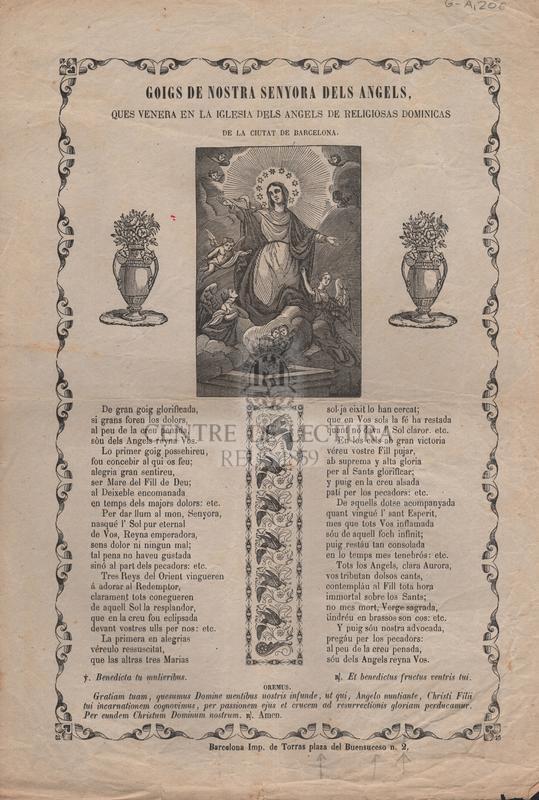 Goigs de Nostra Senyora dels Angels, ques venera en la Iglesia dels Ángels de Religiosas Dominicas de la ciutat de Barcelona