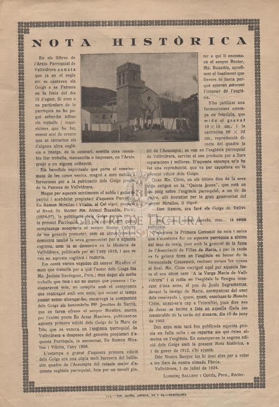 """Goigs en llaor de la Mare de Déu que es venera en l'església parroquial de Vallvidrera amb el títol de l'""""Assumpta"""""""