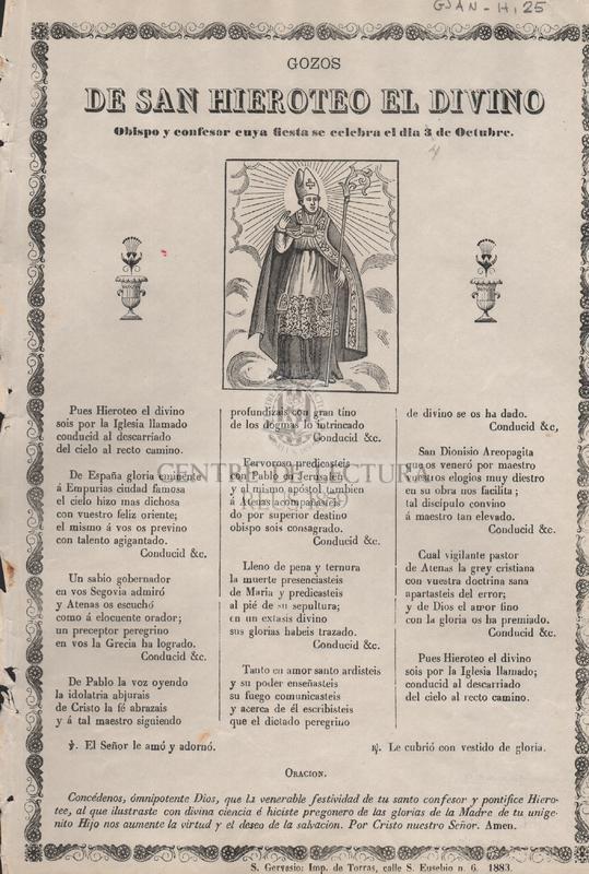 Gozos de San Hieroteo El Divino. Obispo y confesor cuya fiesta de celebra el dia 3 de octubre