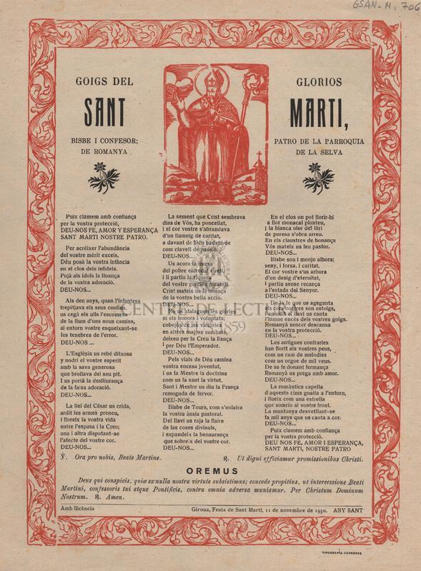Goigs del glorios Sant Marti, Bisbe i Confessor; Patró de la parroquia de Romanyà de la Selva