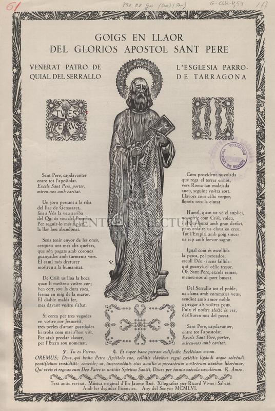 Goigs en llaor del glorios apostol sant Pere venerat patro de l'esglesia parroquial del Serrallo de Tarragona.