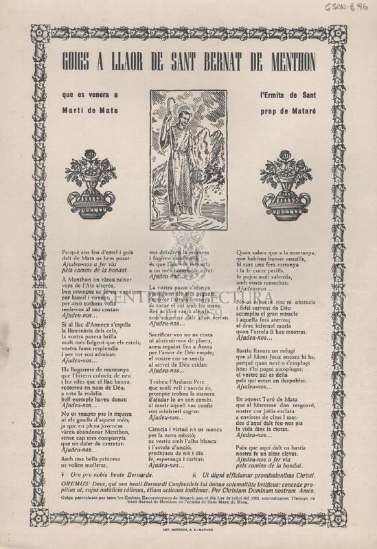 Goigs a llaor de Sant Bernat de Menthon que es venera a l'Ermita de Sant Martí de Mata prop de Mataró.