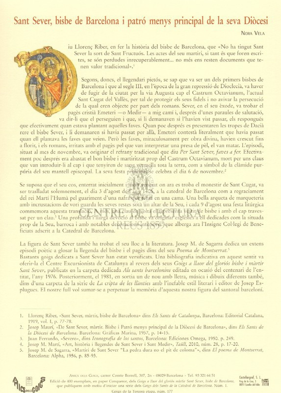Goigs a llaor del gloriós màrtir Sant Sever bisbe de Barcelona. patró titular de l'insigne Col·legi de Beneficiats de Sant Sever, adscrit a la Catedral de Barcelona
