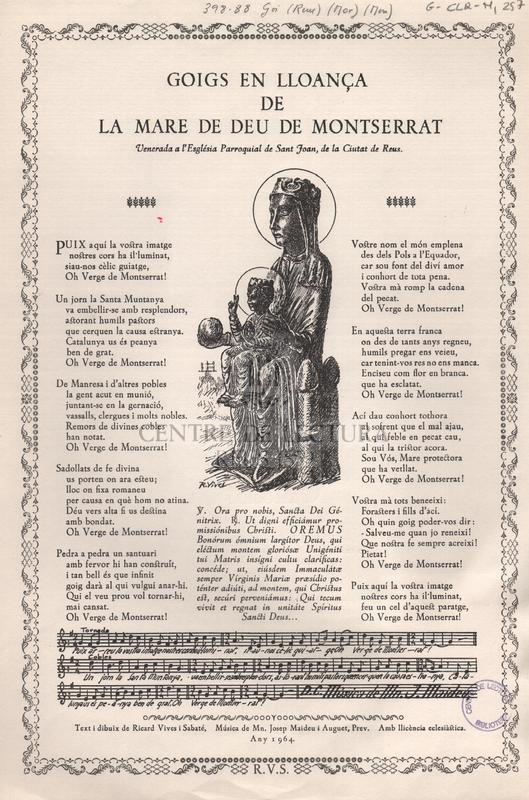 Goigs en lloança de la Mare de Deu de Montserrat venerada a l'Església Parroquial de Sant Joan, de la Ciutat de Reus.