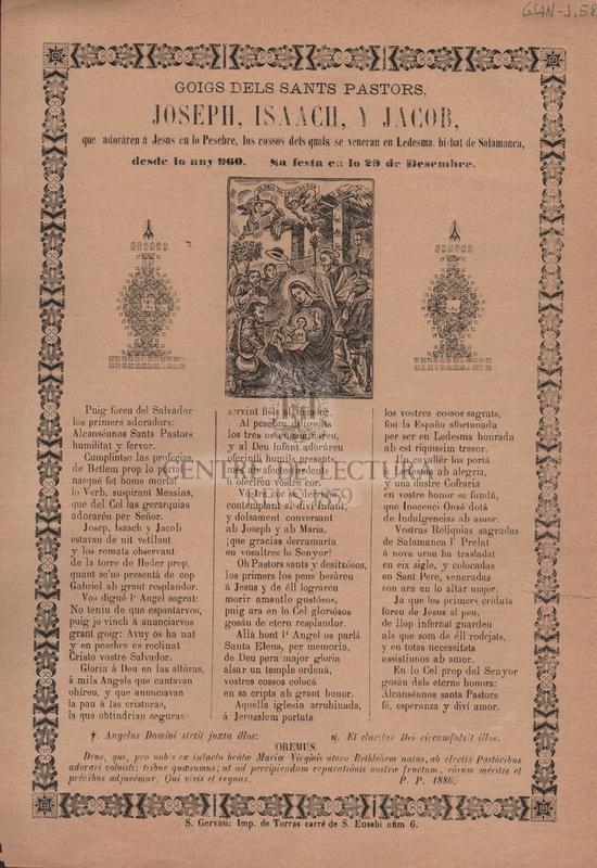 Goigs dels Sants Pastors Joseph, Isaac, y Jacob, que adoraren á Jesus en lo Pessebre, los cossos dels quals se veneran en Ledesma, bisbat de Salamanca desde lo any 960. Sa festa en lo 29 de Desembre