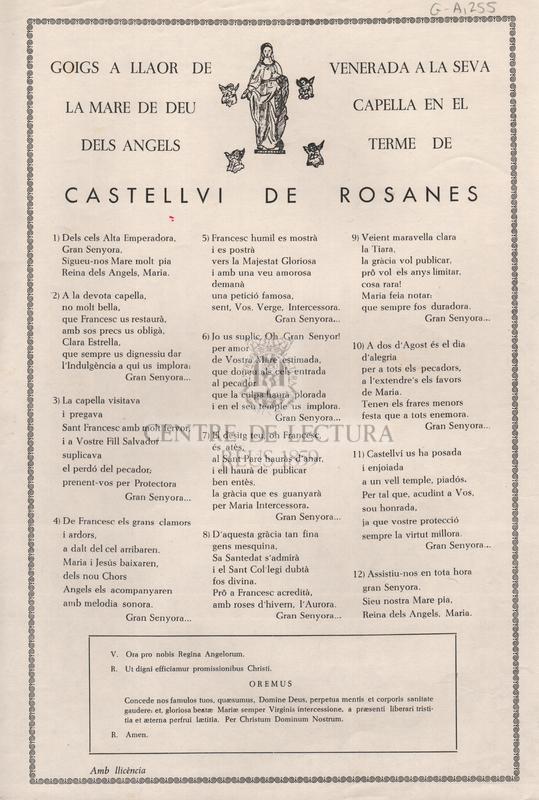 Goigs a llaor de la Mare de Déu dels Àngels venerada a la seva capella en el terme de Castellví de Rosanes