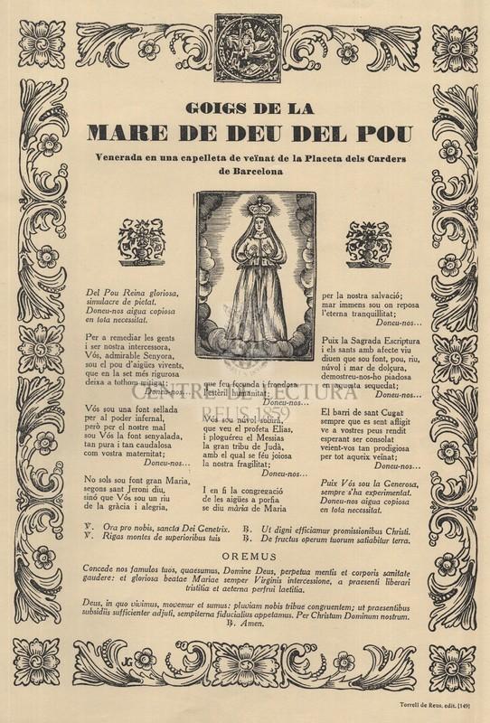 Goigs de la Mare de Déu del Pou, venerada en una capelleta de veïnat de la Placeta dels Carders de Barcelona
