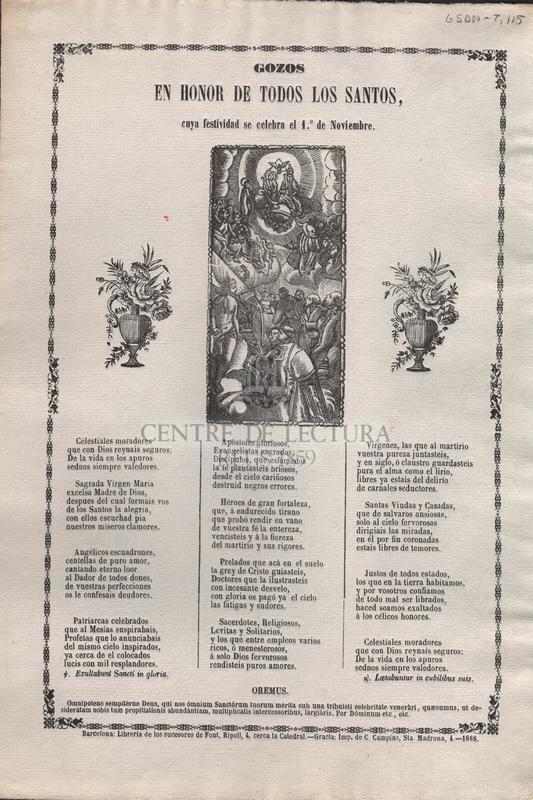 Gozos en honor de Todos los Santos, cuya festividad se celebra en 1º de noviembre