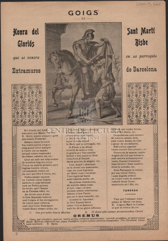 Goigs en honra del gloriós Sant Martí Bisbe que se venera en sa parroquia Extramuros de Barcelona