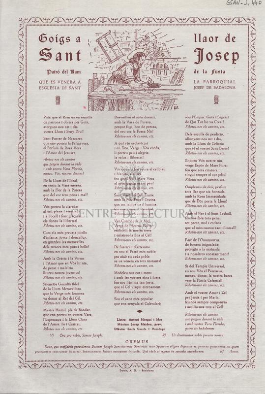 Goigs a llaor de Sant Josep. Patró del ram de la fusta que es venera a la parroquial esglesia de Sant Josep de Badalona
