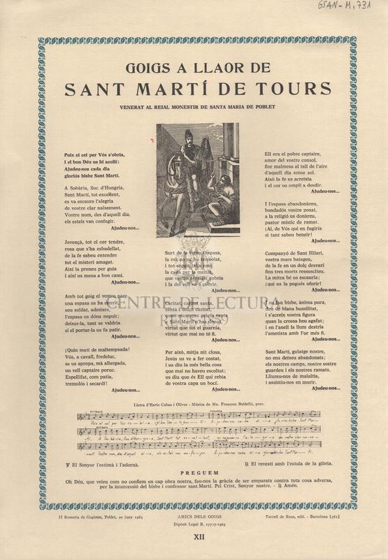 Goigs a llaor de Sant Martí de Tours. Venerat al Reial Monestir de Santa Maria de Poblet