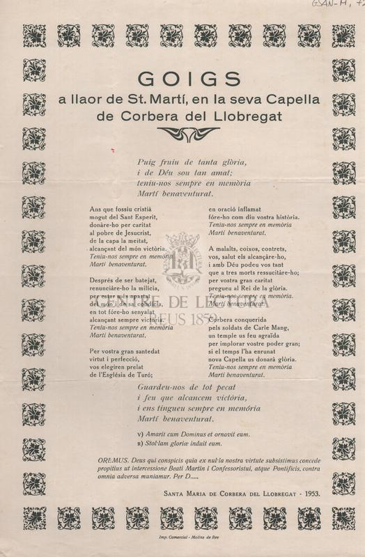Goigs a llaor de St. Martí, en la seva Capella de Corbera del Llobregat
