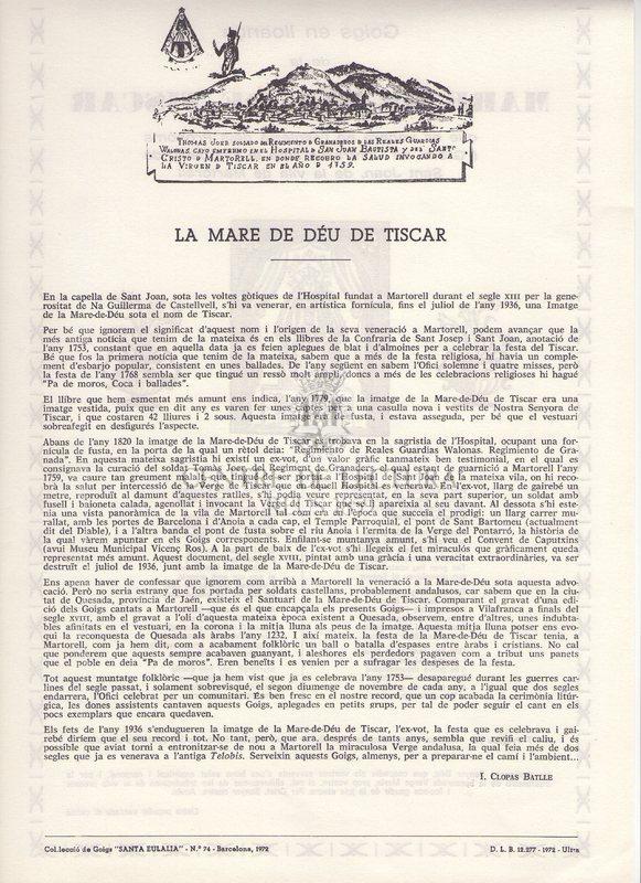 Goigs en lloança de la Mare de Déu de Tiscar que es venera en l'església dels Prohoms i Gremi de Cofrares sota la invocació de Sant Joan , de la vila de Martorell