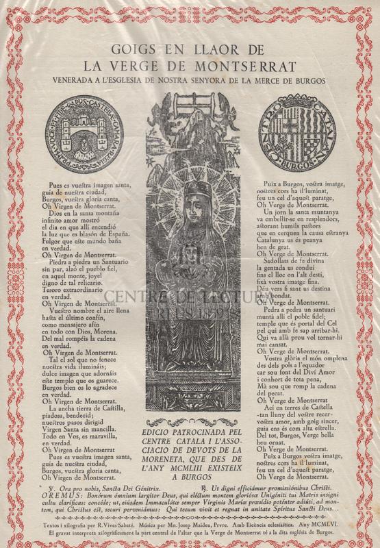 Goigs en llaor de la Verge de Montserrat venerada a l'església de Nostra Senyora de la Merce de Burgos.