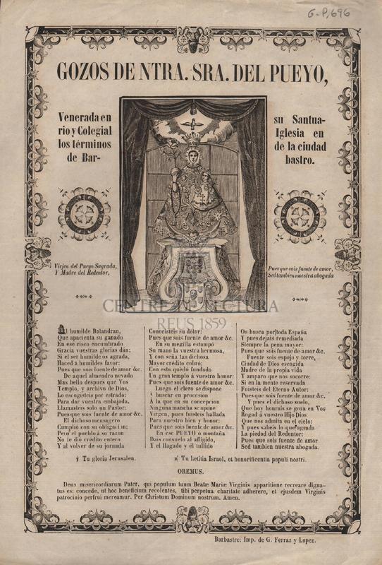 Gozos de Ntra. Sra. del Peyo, venerada en su Santuario y Colegial Iglesia en los términos de la ciudad de Barbastro.