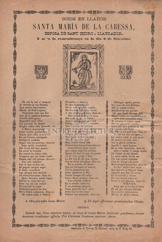 Goigs en llahor santa María de la Cabessa, esposa de sant Isidro, llaurador, Y se 'n fa remembrança en lo dia 9 de Setembre