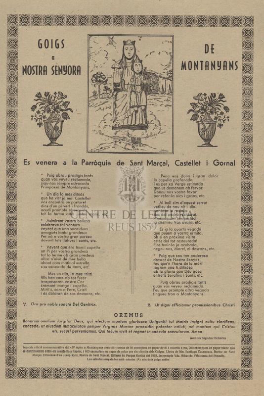 Goigs a Nostra Senyora de Montanyans. Es venera a la Parròquia de Sant Marçal, Castellet i Gornal