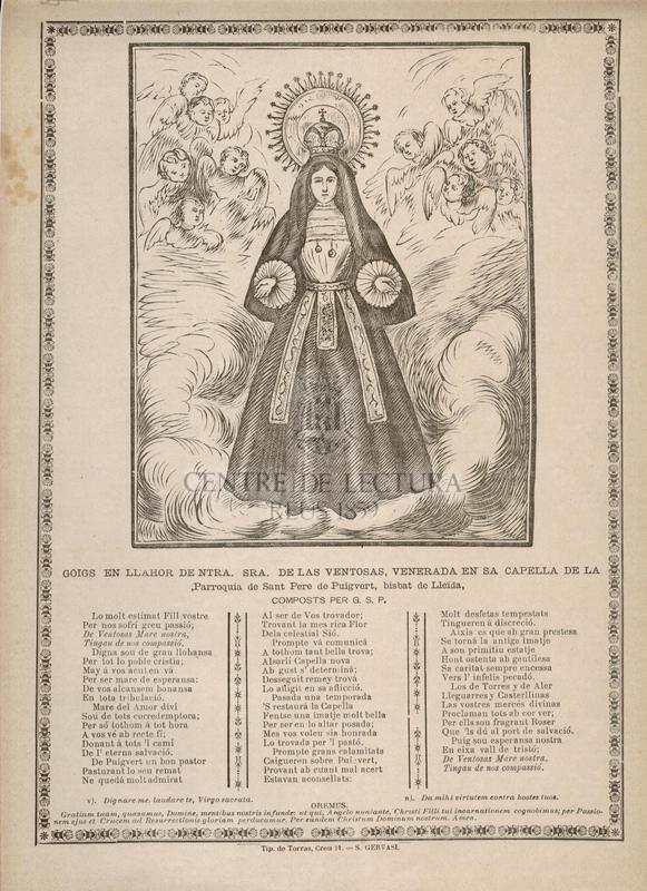 Goigs en llahor de Ntra. Sra. de las Ventosas, venerada en sa Capella de la Parroquia de Sant Pere de Puigvert, Bisbat de Lleida