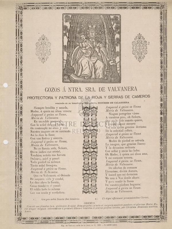 Gozos á Ntra. Sra. de Valvanera protectora y patrona de la Rioja y Sierras de Cameros venerada en su benedictino monasterio, Diocesis de Calahorra